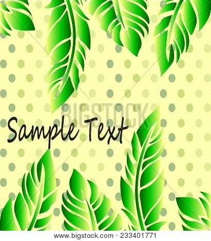 Bright Green Frame With Feathers On A Beautiful Background Dot Pattern - Fresh Poster