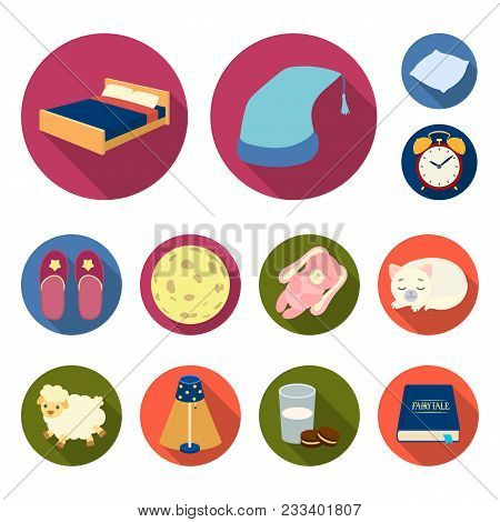 Rest And Sleep Flat Icons In Set Collection For Design. Accessories And Comfort Vector Symbol Stock