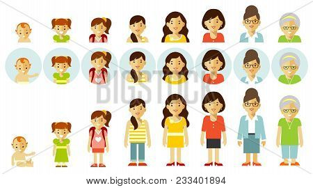 Woman Aging - Baby, Child, Teenager, Young, Adult, Old. Full Length And Avatars. Vector Illustration