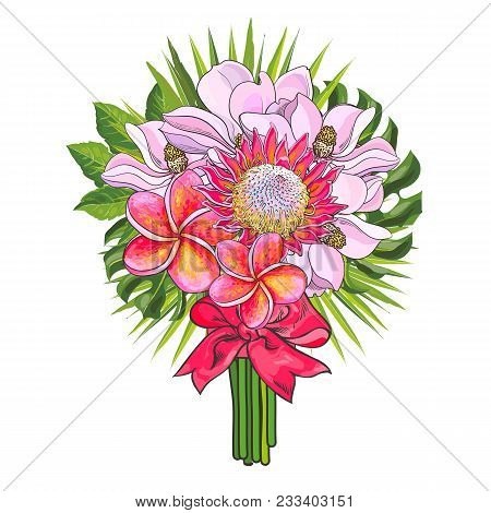 Tropical Flowers And Green Palm Leaves In Bouquet With Pink Ribbon Isolated On White Background. Han