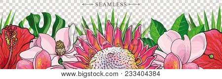 Tropical Flowers Border Seamless Pattern In Sketch Style On Transparent Background. Hand Drawn Exoti