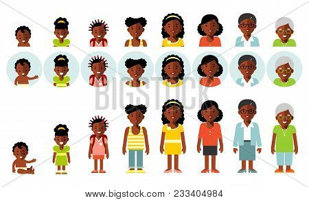 Woman African American Ethnic Aging Icons - Baby, Child, Teenager, Young, Adult, Old. Full Length An