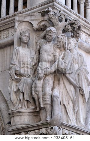 VENICE, ITALY - MAY 28: Judgment of Solomon, detail of the Doge Palace, St. Mark Square, Venice, Italy, UNESCO World Heritage Sites on May 28, 2017.