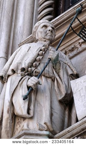VENICE, ITALY - MAY 28 : Detail of the Porta della Carta entrance to the Doge's Palace in Venice, Italy, depicting Doge Francesco Foscari, UNESCO World Heritage Sites on May 28, 2017.