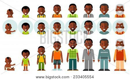 Man African American Ethnic Aging Icons - Baby, Child, Teenager, Young, Adult, Old. Full Length And