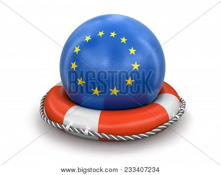 3d Illustration. Ball With European Union Flag On Lifebuoy. Image With Clipping Path