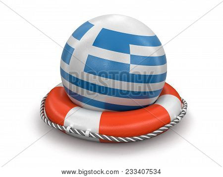 3d Illustration. Ball With Greek Flag On Lifebuoy. Image With Clipping Path