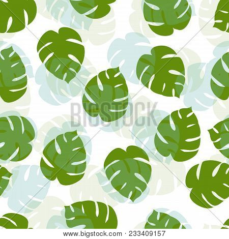 Exotic Tropical Vector Background With Tropical Plants. Seamless Green Tropical Pattern With Monster