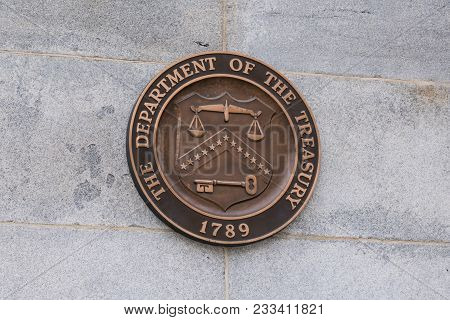 Washington, Dc - March 14, 2018: - United States Department Of The Treasury Seal In Treasury Buildin
