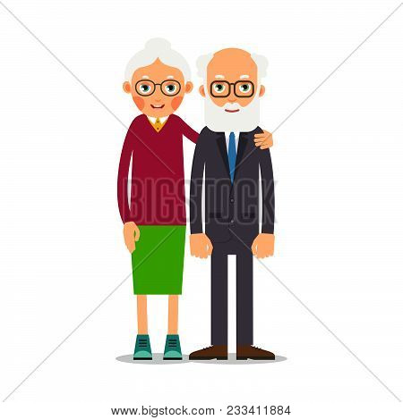 Couple Older People. Two Aged People Stand. Elderly Man And Woman Stand Together And Hug Each Other.