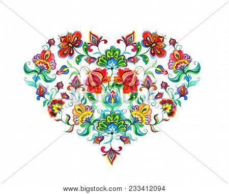 Heart With Eastern European Decorative Ethnic Flowers. Watercolor