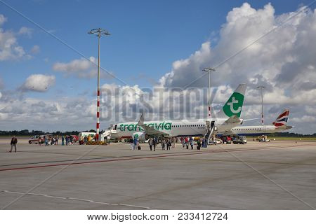 ROTTERDAM, THE NETHERLANDS - SEPTEMBER 12, 2017: Transavia Boeing 737-800 airlinerarrived at Rotterdam The Hague airport. Transavia is a Dutch low-cost airline, a subsidiary of KLM.