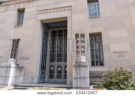 Washington, Dc - March 14, 2018: Exterior Facade Of The Department Of Justice Building In Washington
