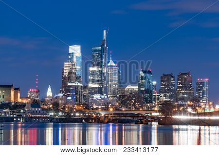 Philadelphia, Pa - March 10, 2018: Philadelphia City Skyline At Night Along The Schuylkill River