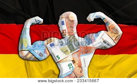 Abstract Business Background. Concept Of Powerful European Euro. Flag Of German And Bodybuilder Shap