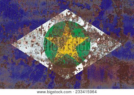 Mato Grosso Grunge Flag, States Of Brazil