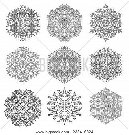 Set Of Vector Snowflakes. Fine Winter Ornaments. Snowflakes Collection. Black And White Snowflakes F