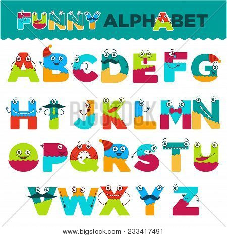 Funny Alphabet Of Cartoon Characters For Kids Design. Vector Font Letters Of Comic Monster Creature
