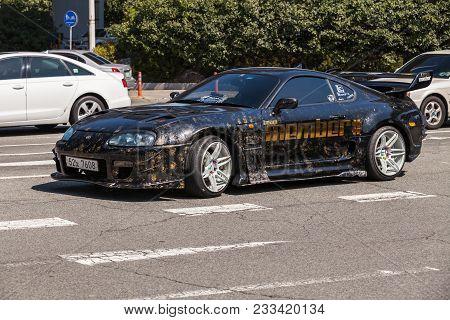 Busan, Republic Of Korea - March 17, 2018: Black Toyota Supra Sport Car Stylized For Street Racing R