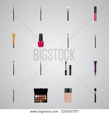 Set Of Greasepaint Realistic Symbols With Make-up Product, Blending Brush, Collagen Tube And Other I