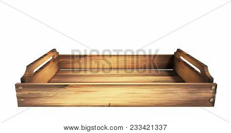 Empty Wooden Fruit Crate 3d Render On White No Shadow