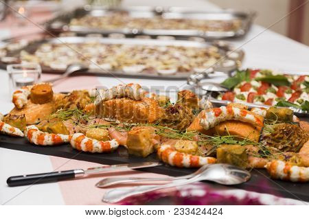 Wedding Buffet With Cuisine Culinary Dinner Catering Dining Food Celebration Party Concept. All You