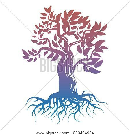 Magic Bright Tree With Roots. Tree Silhouette Isolated On White Background. Vector Illustration