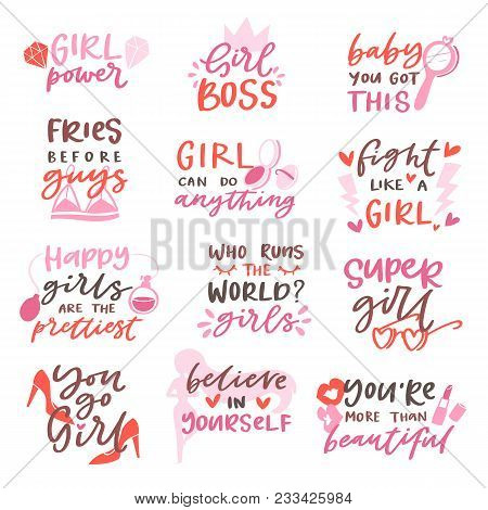 Girls Sign Vector Girlie Lettering And Beautiful Female Text Or Girlish Fashion Template Print Illus