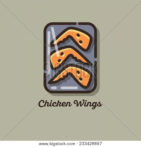 Chicken Meat Icons. Chicken Wings. Flat Illustration Of Chicken Meat.