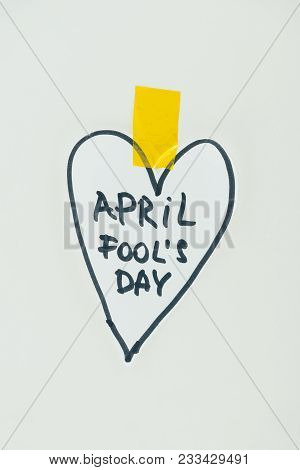 Close Up View Of Hand Drawn Heart And April Fools Day Lettering Isolated On Grey, April Fools Day Co