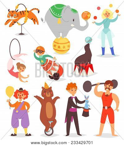 Circus People Vector Acrobat And Clown With Trained Animals Characters In Circus-tent Illustration S