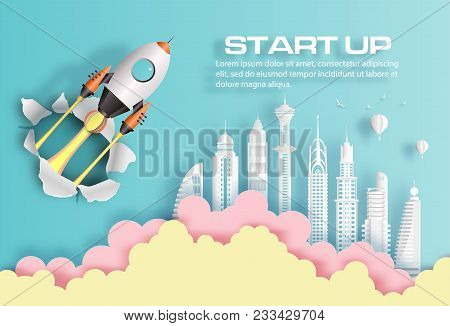 Paper Art Style Of Rocket Breaking Through Paper Over Modern City, Start Up Business Concept, Flat-s