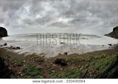 Waves Crashing At The Sandy Shore, Storm At The Beach, Big Strong Waves Washing Shore