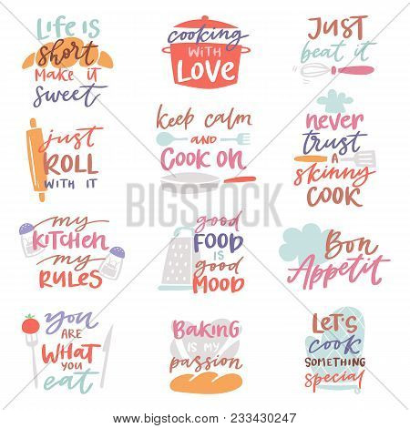 Cook Sign Vector Cooking Or Bakery Lettering And Cookery Or Baking Typography Template To Print Illu