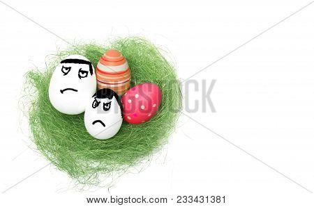 Anger eggs hidden in the grass. Easter funny eggs, Commando eggs, revenge poster