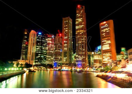 Singapore Landscape At Night