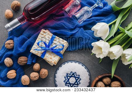 Top View Of Kippah, Matza And Wine, Jewish Passover Holiday Concept