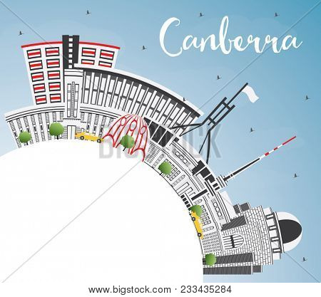 Canberra Australia City Skyline with Gray Buildings, Blue Sky and Copy Space. Business Travel and Tourism Concept with Modern Architecture. Canberra Cityscape with Landmarks.