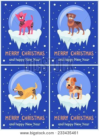 Merry Christmas And Happy New Year Festive Posters With Dogs Inside Glass Bubbles With Bottom Covere