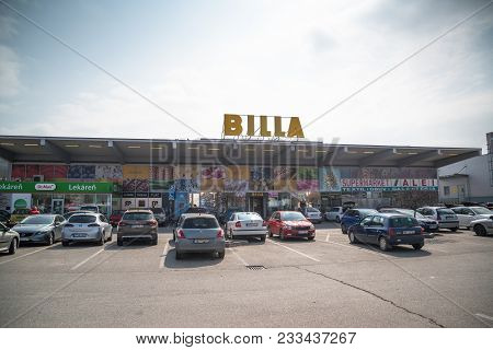 Nitra, Slovakia, March 28, 2018: Billa Store. Now Part Of Rewe Group, Billa Was Founded In 1953. Wit