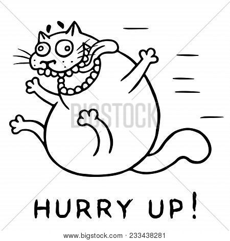 Funny Psycho Cat Jumps From Happiness. Vector Illustration. Cheerful Pet Character Hurry Up.