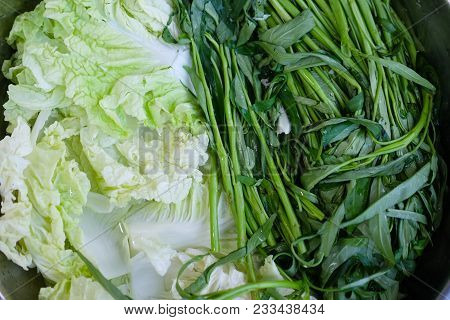 Fresh Chinese Cabbage And Morning Glory Water Cleaning - Food Preparation Concept For Fresh Vegetabl
