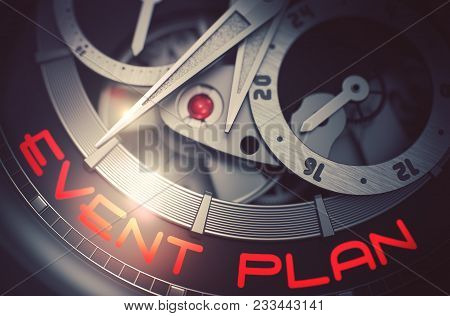 Fashion Wristwatch Machinery Macro Detail With Inscription Event Plan. Mechanical Pocket Watch With