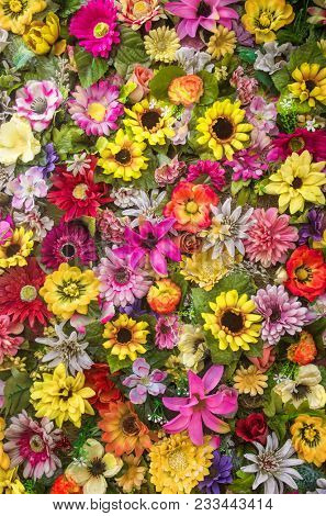 Background with colorful Spring flowers