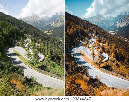 Beautiful view of alpine road. Location place Maloja pass, Swiss Alps, Switzerland, Europe. Beauty of earth. Images before and after. Original or retouch, example of photo editing process.