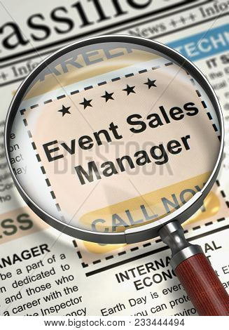 Event Sales Manager - Vacancy In Newspaper. Column In The Newspaper With The Small Ads Of Job Search
