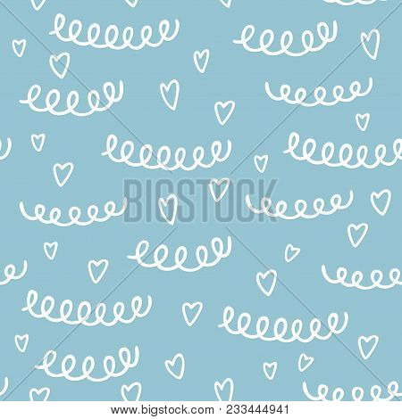 Seamless Pattern With Hand Drawn Heart And Abstract Elements. Colorful Pattern In Line Style, Can Us