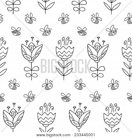 Seamless Pattern With Hand Drawn Flowers. Black And White Pattern In Line Style, Can Use For Wrappin