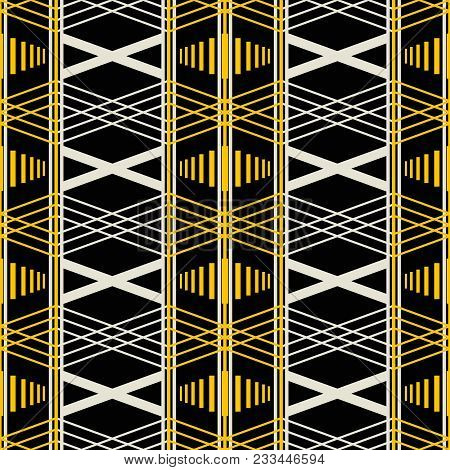 Seamless Geometric Retro Pattern With Wide Vertical Stripes. Yellow, Black, Dusty White Colors