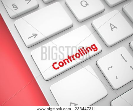 Service Concept: Controlling On The White Keyboard Lying On The Red Background. Business Concept Wit